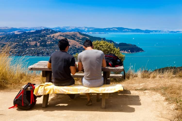 Tourists enjoying the views from Angel Island State Park in San Francisco, CA