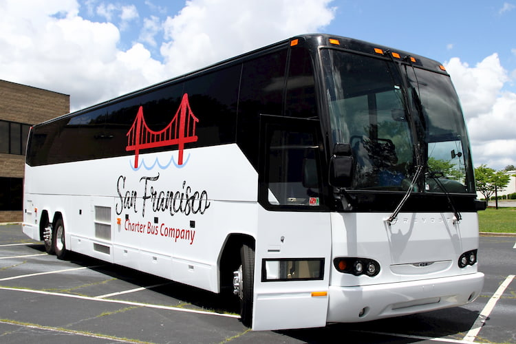 a large bus chartered from san francisco charter bus company
