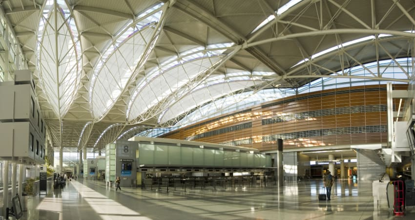 The interior of the San Francisco International Airport
