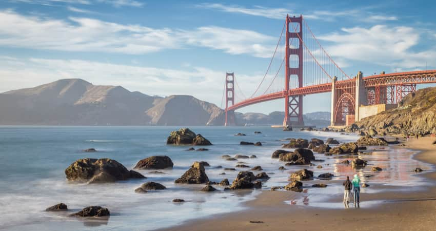 People walking along Baker Beach with the Golden Gate Bridge in the background