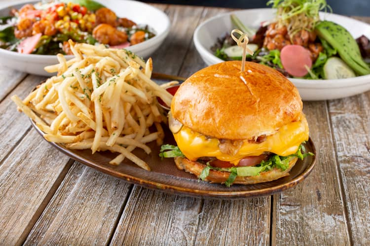 a plate with a hamburger and french fries