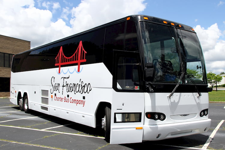 a bus from san francisco charter bus company prepares for a trip