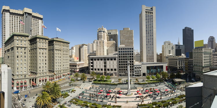 a wide aerial view of san francisco's union square