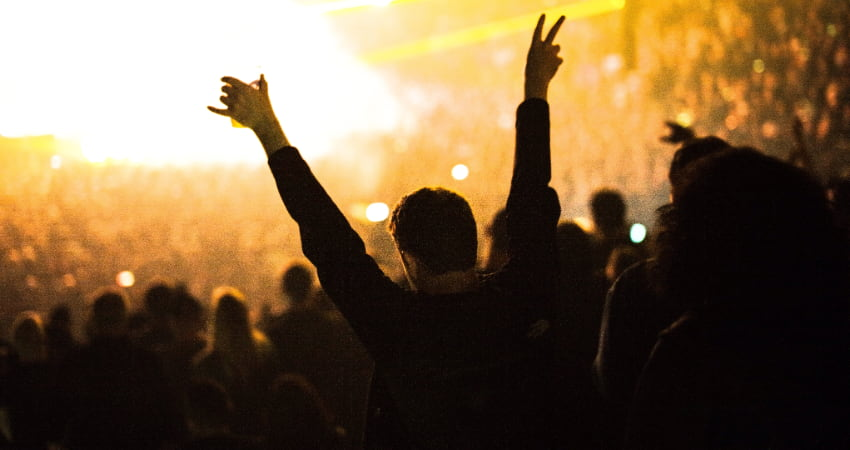 A music fan raises their arms and cheers at a concert