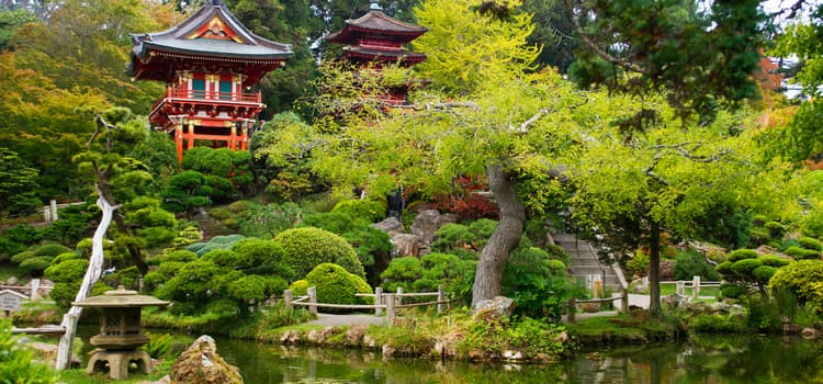 a view of small buildings and ponds in the japanese tea garden of golden gate park