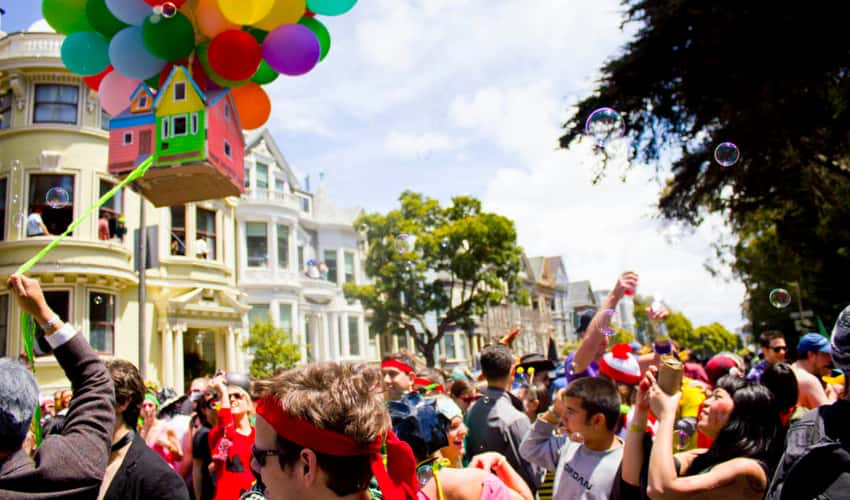 People partying in the streets during Bay to Breakers 2011 in San Francisco