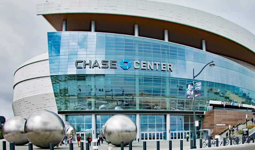 The exterior and main entrance at the Chase Center