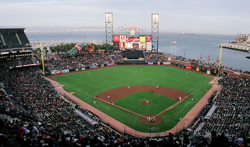 A view from the field from Oracle Park seats with the Bay in the distance